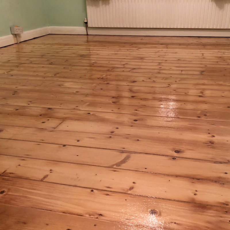 pitch pine floor boards sanded and sealed in frodsham, near helsby