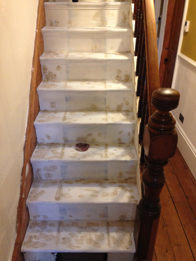 During restoration of 1880's original pine stair case