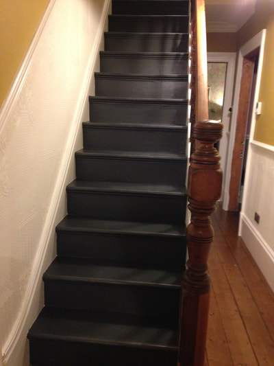 Finished photo of original victorian staircase after renovation