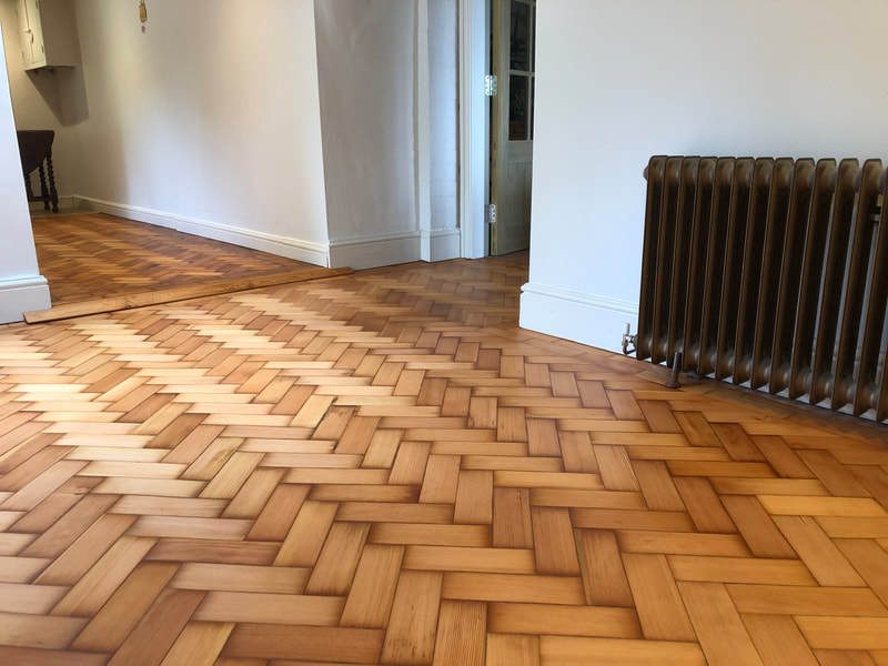 Columbian Herringbone Pitch Pine sanded and oiled with Dutch Hardwax Oil