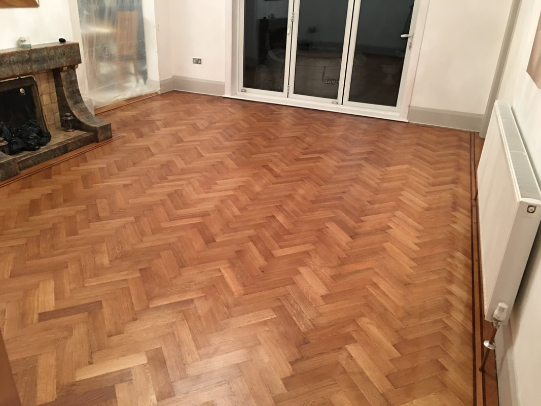 herringbone parquet oak floor sanded and varnished in the wirral, heswall