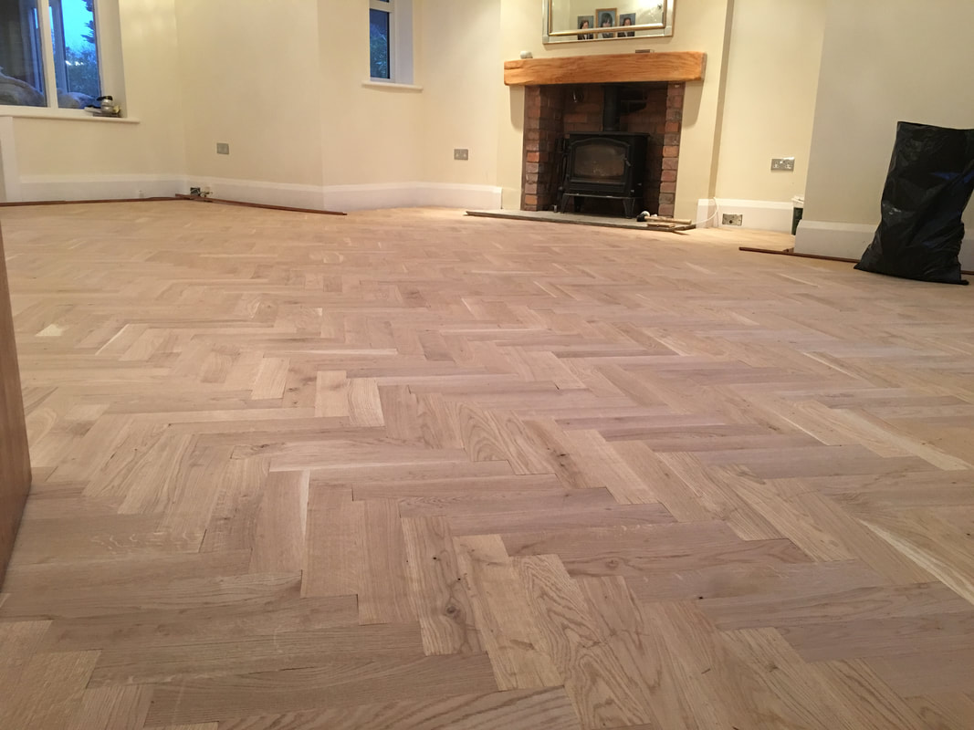 Parquet floor wirral sanded ready for oil
